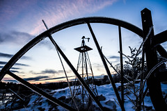 Wheel & Sprinkler at Sunset (AndrewCline) Tags: sunset dusk farm agriculture wheel sprinkler equipment old faded rustic naturallight newengland rural newhampshire bedford country countryside composition blue sky colors pink clouds winter snow ice cold january nature weather antique
