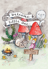 New baby card (Heidi Burton / Making Strangers) Tags: newbabycard newbaby welcomebaby greetingcarddesign greetingcard birthdaycard woodland welcome teaparty campfire bonfire illustration watercolor earthbaby wonderland wonderlandillustration toadstoolillustration