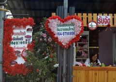 flower shop ready for valentine's day (the foreign photographer - ฝรั่งถ่) Tags: flower shop lady valentines day phahoyolthin road bangkhen bangkok thailand nikon d3200