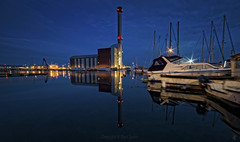 Shoreham Power Station Blue Hour (Dave Sexton) Tags: shoreham west sussex england united kingdome uk power station marina boats yachets blue hour water sill clam reflections lights wide angle pentax k1 samyang 14mm f28