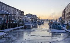 Portland On Ice (amy20079) Tags: portlandmaine sea ocean harbor wharf piers boats sunrise seasmoke ice winter newengland nikond5100 offseason snow waterfront