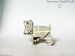 Newspaper Simple Poodle - Barth Dunkan. (Magic Fingaz) Tags: anjing barthdunkan chien chó dog gremlins hond hund köpek monster origami perro pies пас пес собака หมา 개 犬 狗