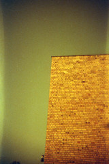 Old Yellow Bricks (Magnus Bergström) Tags: lomography redscale xr lomographyredscalexr film 135 35mm luminox luminox356sl analog lomo sweden sverige dalsland åmål åmåls kommun wall building sky bricks