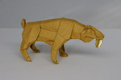 Origami Smilodon (2) (Tankoda) Tags: origami smilodon saber toothed sabertoothed tooth sabertooth tiger prehistoric ice age pleistocene satoshi kamiya travis nolan works paper art deluxe washi origamishop shop shaping white yellow orange gold