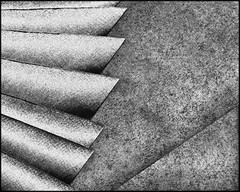 A handful of folded paper towels (Bob R.L. Evans) Tags: texture course gray tones light dark shadow repetition balance defamiliarization composition pov low key blades patterns angle lines textures graytones blackandwhite unusual