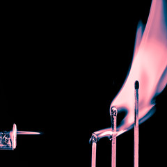 Flame Chain Reaction (alternate) (roseysnapper) Tags: macromondays nikkor105mmmicrof28 nikond810 silverefexpro20 blackbackground chainreaction closeup splittoning lightroom macro blowtorch flame matchstick
