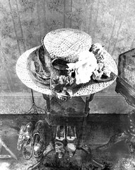 The Straw Hat and Shoes (Steve Taylor (Photography)) Tags: strawhat flower shoes stand wallpaper daguerreotype antique photo photograph art digital monochrome blackandwhite monotone uk gb england greatbritain unitedkingdom london 221bbakerstreet