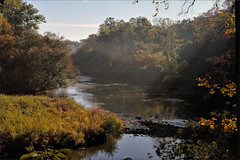 Misty Autumn Morning (meniscuslens) Tags: autumn canada london ontario river thames trees sun