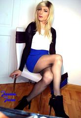 Blue Skirt Blonde (jessicajane9) Tags: tg crossdressing transvestite lgbt tgurl transgender tv crossdresser tranny m2f feminization tgirl cd xdress trans tights