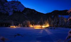 La luce ancora accesa ... (Gio_ guarda_le_stelle) Tags: dolomiti dolomiten dolomites sunset blue bluehour tramonto dobbiaco lake landscape sky snow mountainscape atmosphere qiuet e
