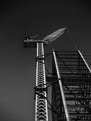 Craning (Chris Hearne) Tags: cranes olympus skyscraper omdem1mkii construction crane blackwhite monochrome sydney engineering scaffold girders newsouthwales australia au