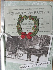 Christmas Party (janettefuller) Tags: handmade handmadegreetingcard christmascard christmas wreath christmasparty vintage ephemera sleigh photograph horse snow timholtz timholtzephemerapack art crafts cardmaking papercrafts