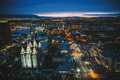 Sunsets on Salt Lake City (Thomas Hawk) Tags: america lds ldschurch ldstemple mormon mormonchurch mormontemple mormonism slc saltlakecity saltlaketemple usa unitedstates unitedstatesofamerica utah architecture sunset temple us fav10 fav25