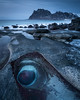 'The Eye of Aegir' (Greg Whitton Photography) Tags: arctic frozen ice landscape lofoten norway seascape snow sony winter a7rii uttakleiv rockpool rock eye blue bluehour beach stunning awesome beautiful