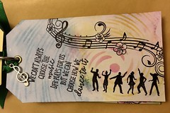 Page three of tag book (CraftyBev) Tags: music stamping inking stencilling tagbook tag
