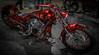 HORROR FLASHBACK (TONY VIKLICKY) Tags: toronto motorcycle show custom paint chrome colors harley movie hits theme red fat tire skinny fenders louvers