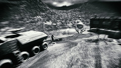 I want to drive you through the night, down the hills (Gianmario Masala [inworld]) Tags: photoshop blur blurry mono monochrome landscape luna gianmariomasala blackandwhite motion textured texture grain camion people men highandlowkey shadows stones moody aboutyouandme samiabonetto