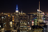 (kayters) Tags: newyork manhattan kaytedolmatchphotography kathleendolmatch canon travel october fall longexposure nightphotography cityscape empirestatebuilding freedomtower hm citylights topoftherock midtown blue gold explore