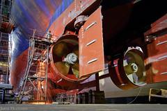 Propellors and thrusters (photojorrit) Tags: ship long shutter fujifilm xt2 samyang 12mm f2 singapore shipyard wharf exposure night engineering technician