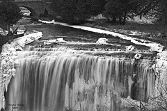 Webster Fall (rcss2800) Tags: water waterfall land landscape bridge blackandwhite monochrome winter snow ice outdoor outdoors river
