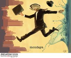 Mondays. (Mao_Design) Tags: digitalpainting digitaldrawing wacom fish fishhead mondays lundis drawing draw montreal mtl mtlmoments montrealmoments color art artwork water city cityscape humor humour graphic design graphicdesign