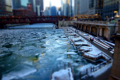breaking out (KevinIrvineChi) Tags: river ice chicago city cta ctabrownline bridge loop downtown riverwalk skyscrapers urb urban people walk reflections streetlights sond sony dscrx100 tiltshift aperture priority curbedchicago boingboing