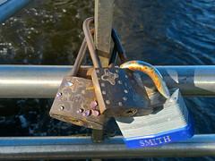 Three Love Locks. (mcginley2012) Tags: lock bridge river lovelocks galway ireland cameraphone lumia650 three light rust sequin street