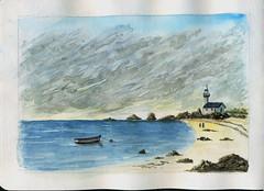Plage bretonne (ybipbip) Tags: aquarelle aquarell akvarell watercolor watercolour paint painting pintura paysage landscape