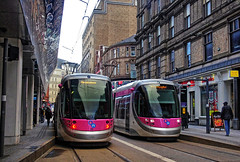 Midland Midland Metro CAF Urbos 3-type trams 28 and 33 in New Street, Birmingham on 5 Feb 2018 (Trains and trams eveywhere) Tags: midlandmetro birmingham tram urbos3 newstreet localtransport streetcar england westmidlands caf