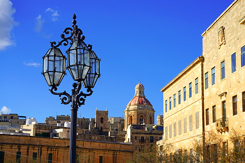 Valletta cityscape with a lamp, Malta