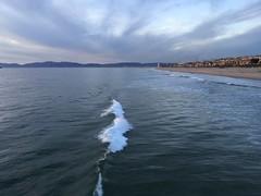 image (mariao88) Tags: ocean winter waves water pier manhattan beach houses sand sunset sky clouds mountains shore boardwalk january deep blue surfers