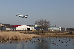A SMALL AIRPORT, SOME PARKS AND CLOUDS - CXL (Jussi Salmiakkinen (JUNJI SUDA)) Tags: chofu tokyo japan cityscape park airport sky aircraft wood airplane landscape tama 調布 飛行場 空港 林 森 空 武蔵野 多摩 東京 日本 風景 febuary clouds winter 2017 helmikuu landing turboprop dornier do228