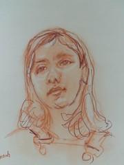 Annah (christian angué) Tags: sanguine portrait papier craft