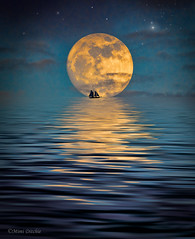 Fantastic Moonlight (Mimi Ditchie) Tags: supermoon wolfmoon fullmoon moon montage collage fantasy moonlight sailboat stars reflection ocean ripples flood
