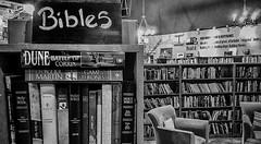 2018_01_24_bookstore_DSCN9271 20180124-9271 (dpowersdoc) Tags: 365 photoaday books bookcase bookstore bible satire humor parody fantasy sciencefiction religion ridicule