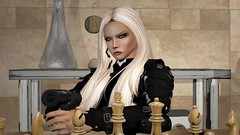Go ahead and finish your move (alexandriabrangwin) Tags: alexandriabrangwin secondlife 3d cgi computer graphics virtual world photography sicario beniciodeltorro louise mensch end scene sitting table black ops gear soldier threatening confrontation silenced suppressed walther p99 pistol covert gun chess board trump russia blonde hair armor latex catsuit microphone vladimir putin