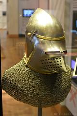 Bacinet, with Mail Aventail (Bri_J) Tags: royalarmouries leeds westyorkshire uk museum militarymuseum yorkshire nikon d7200 bacinet mailaventail armour helmet chainmail italianarmour