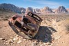 (Andrés Luciano) Tags: rusty car classic ride desert landscape mountains sky rocks bluediamond day