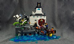 SingulariCity- Attack at the Temple District Pier (Deltassius) Tags: district 18 lego moc diorama speeder bike robot cyberfuture temple dock water fighting