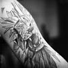 img301 (Adam Clark Photography) Tags: yashica mat 124g black white square 120 neopan delta ilford fuji moody sea portrait tattoo tat arm glasses bokeh