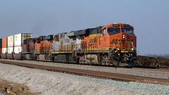 Mixed Power (lennycarl08) Tags: es44dc bnsf7465 burlingtonnorthernsantaferailroad burlingtonnorthernsantafe bnsf railroad trains centralvalley stocktonsub california