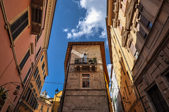 Ascoli Piceno (ccr_358) Tags: ccr358 2017 spring april nikon d5000 nikond5000 italy marche ap day ascolipiceno ascoli perspective wideangle street houses lookingup sunny