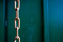 Rusty Chain (annablepatrick) Tags: rust chain chains rusty old metal green strong bin storage farm nikon macro