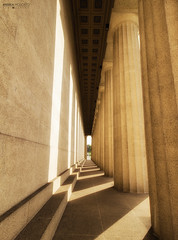 The Parthenon in Centennial Park - Nashville (Tennessee) (Andrea Moscato) Tags: andreamoscato america statiuniti usa unitedstates us light luce shadow ombre sole sun colonne columns yellow building edificio architecture architettura art perspective stones vivid pattern glow day dark evening path floor