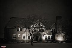 Bump in the Night (MBates Foto) Tags: ambientlight availablelight building blackandwhite existinglight monochrome nikkorlense nikon nikond810 night nocturnal outdoors pancromatic snow urban spokane washington unitedstates 99203