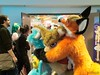 G-Anime 2018 - Guimove, Ritch, Korby Wright (Kakurady) Tags: dragon aqua green beadeyes fursuit guimove dog kangaroo hybrid brown fox orange macro fleurdelis arrow bowtie furthewin ganime gatineau quebec canada