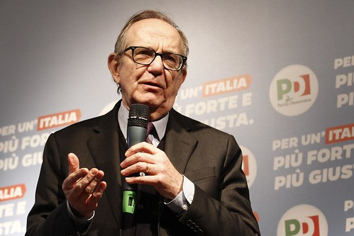 22 Febbraio, Pier Carlo Padoan con Matteo Renzi a Siena