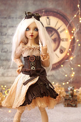 New Steampunk Outfits now available in the Shop! <3 (Clockwork Faery Co) Tags: steampunk etsy bjd slim msd minifee doll brown tea dye fabric sewing miniature gears bronze ombre alpaca wig fairyland lillycat celine tan