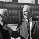 "Chancellor John Caldwell (right) and guests at the official dedication of ""The Brickyard"" on Founders' Day 1968."
