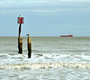 Shipping off Southwold. (johncheckley) Tags: d90 ship sea coast groyne